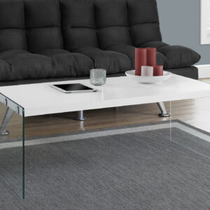 COFFEE TABLE – GLOSSY WHITE WITH TEMPERED GLASS