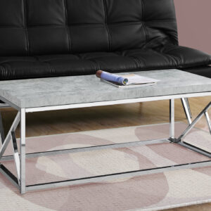 COFFEE TABLE – GREY CEMENT WITH CHROME METAL