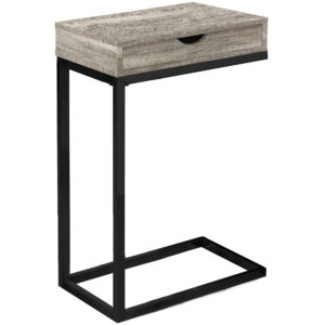 ACCENT TABLE – TAUPE RECLAIMED WOOD-LOOK / BLACK / DRAWER