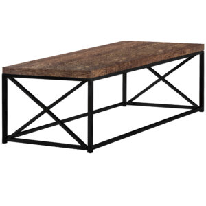 COFFEE TABLE – BROWN RECLAIMED WOOD-LOOK / BLACK METAL