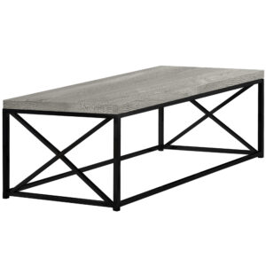 COFFEE TABLE – GREY RECLAIMED WOOD-LOOK/ BLACK METAL