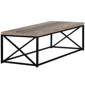COFFEE TABLE – TAUPE RECLAIMED WOOD-LOOK / BLACK METAL