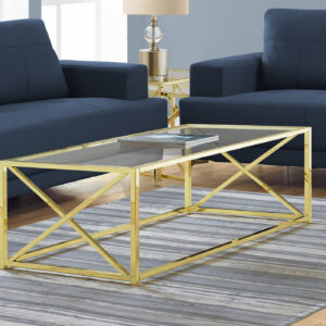 COFFEE TABLE – 44″L / GOLD METAL WITH TEMPERED GLASS