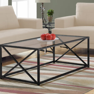 COFFEE TABLE – 44″L / BLACK NICKEL METAL / TEMPERED GLASS