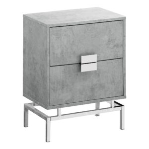 ACCENT TABLE – 24″H / GREY CEMENT / CHROME METAL
