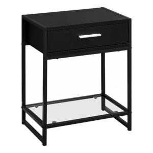 ACCENT TABLE – 22″H / BLACK / BLACK METAL/ TEMPERED GLASS