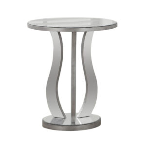 ACCENT TABLE – 20″DIA / BRUSHED SILVER / MIRROR