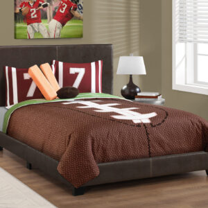 BED – FULL SIZE / DARK BROWN LEATHER-LOOK