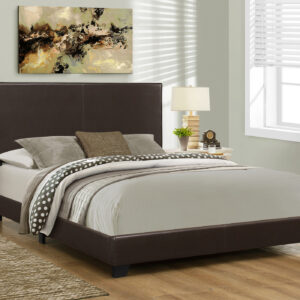 BED – QUEEN SIZE / DARK BROWN LEATHER-LOOK
