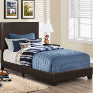 BED – TWIN SIZE / DARK BROWN LEATHER-LOOK
