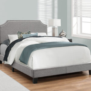 BED – FULL SIZE / GREY LINEN WITH CHROME TRIM