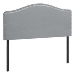 BED – FULL SIZE / GREY LEATHER-LOOK HEADBOARD ONLY