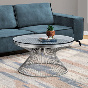 COFFEE TABLE – 36″DIA / STAINLESS STEEL / TEMPERED GLASS