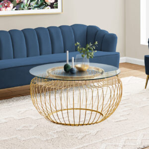 COFFEE TABLE – 36″DIA / GOLD METAL WITH TEMPERED GLASS
