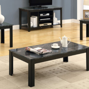 TABLE SET – 3PCS SET / BLACK / GREY MARBLE-LOOK TOP