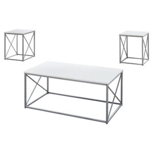 TABLE SET – 3PCS SET / WHITE / SILVER METAL