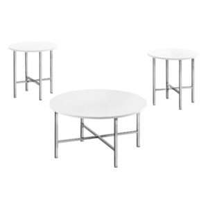 TABLE SET – 3PCS SET / GLOSSY WHITE / CHROME METAL