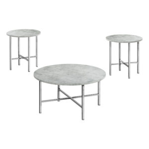 TABLE SET – 3PCS SET / GREY CEMENT / CHROME METAL