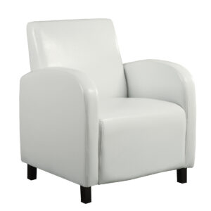 ACCENT CHAIR – WHITE LEATHER-LOOK FABRIC