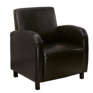 ACCENT CHAIR – DARK BROWN LEATHER-LOOK FABRIC