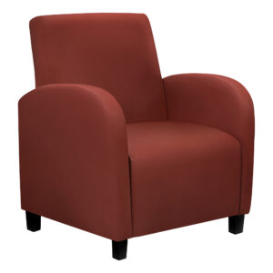 ACCENT CHAIR – RED LEATHER-LOOK FABRIC