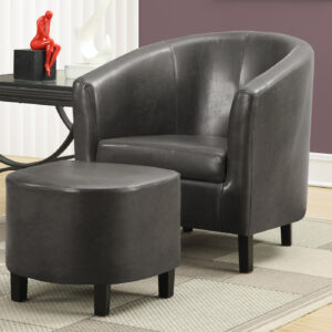 ACCENT CHAIR – 2PCS SET / CHARCOAL GREY LEATHER-LOOK