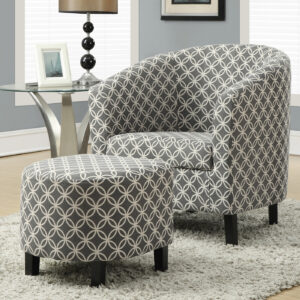 "ACCENT CHAIR – 2PCS SET / GREY "" CIRCULAR "" FABRIC"