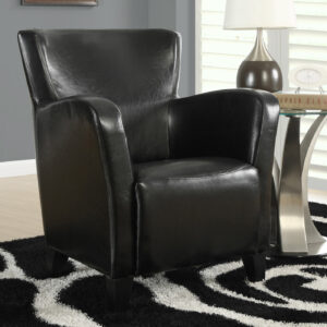 ACCENT CHAIR – BLACK LEATHER-LOOK FABRIC