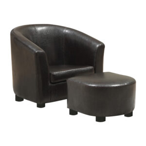 JUVENILE CHAIR – 2 PCS SET / DARK BROWN LEATHER-LOOK