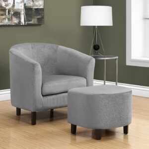 ACCENT CHAIR – 2PCS SET / LIGHT GREY FLORAL VELVET