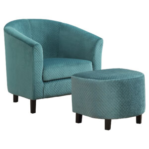 ACCENT CHAIR – 2PCS SET / TURQUOISE QUILTED FABRIC