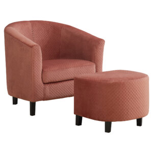 ACCENT CHAIR – 2PCS SET / DUSTY ROSE QUILTED FABRIC