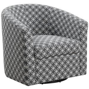 ACCENT CHAIR – SWIVEL / GREY CIRCULAR FABRIC