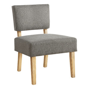 ACCENT CHAIR – LIGHT GREY FABRIC / NATURAL WOOD LEGS