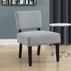 ACCENT CHAIR – LIGHT BLUE / GREY ABSTRACT DOT FABRIC
