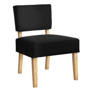ACCENT CHAIR – BLACK FABRIC / NATURAL WOOD LEGS
