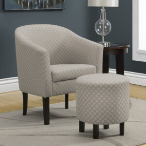 ACCENT CHAIR – 2PCS SET / LIGHT GREY GEOMETRIC FABRIC