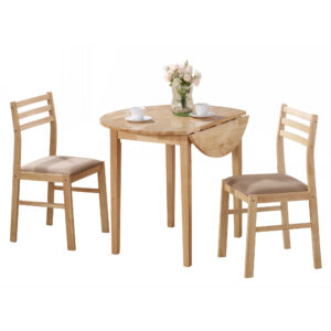 DINING SET – 3PCS SET / NATURAL WITH A 36″DIA DROP LEAF