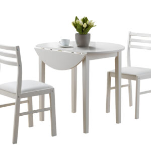 DINING SET – 3PCS SET / WHITE WITH A 36″DIA DROP LEAF