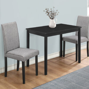 DINING SET – 3PCS SET / BLACK / GREY LINEN PARSON CHAIRS