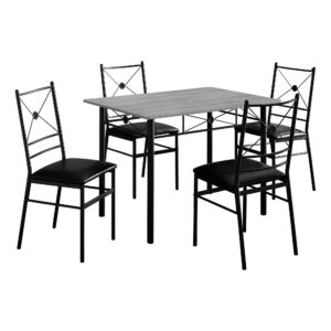 DINING SET – 5PCS SET / GREY / BLACK METAL