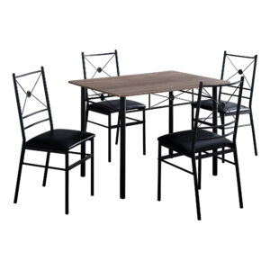 DINING SET – 5PCS SET / DARK TAUPE / BLACK METAL