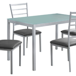 DINING SET – 5PCS SET / SILVER / FROSTED TEMPERED GLASS