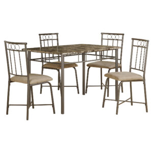 DINING SET – 5PCS SET / ESPRESSO MARBLE / BRONZE METAL