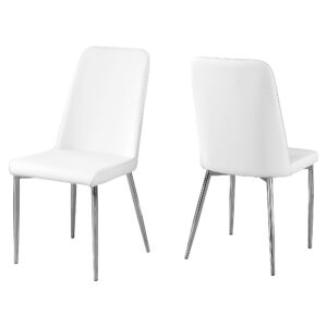 DINING CHAIR – 2PCS / 37″H / WHITE LEATHER-LOOK / CHROME