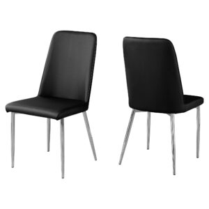 DINING CHAIR – 2PCS / 37″H / BLACK LEATHER-LOOK / CHROME