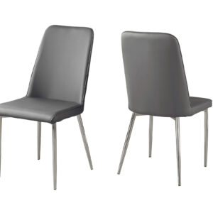 DINING CHAIR – 2PCS / 37″H / GREY LEATHER-LOOK / CHROME