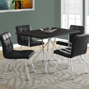 DINING TABLE – 32″X 48″ / ESPRESSO / CHROME METAL