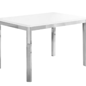DINING TABLE – 32″X 48″ / WHITE / CHROME METAL