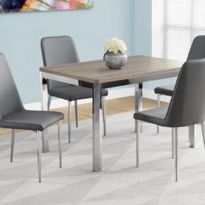 DINING TABLE – 32″X 48″ / DARK TAUPE / CHROME METAL